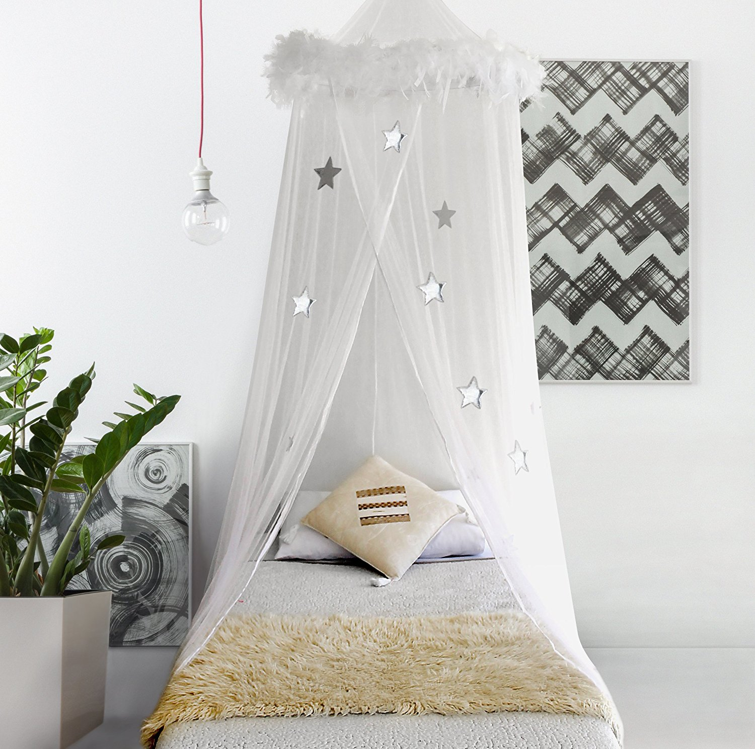 Canopy Bedroom Curtains: Bed Canopy Mosquito Net Curtains With Feathers And Stars